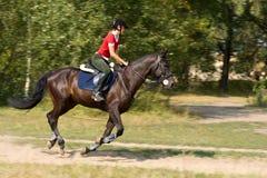 Frau auf galoppierendem Pferd Lizenzfreies Stockfoto