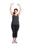 Frau auf Gewichtskala Stockfoto