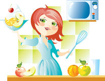 Frau auf Küche lizenzfreie abbildung