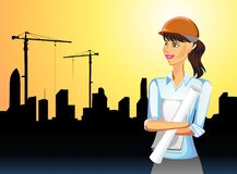 Frau auf Konjunktur im Bausektor Lizenzfreie Stockfotos