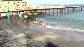 Frau auf Meer stock video