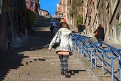 Frau auf Montagne de Bueren Lizenzfreie Stockfotos