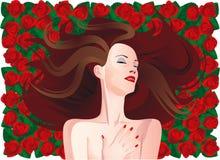 Frau auf roten Rosen Lizenzfreie Stockbilder