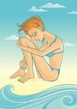 Frau auf Strand Lizenzfreies Stockbild
