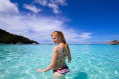 Frau auf Strand Stockfoto