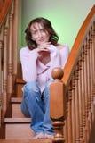 Frau auf Treppen Stockfotos