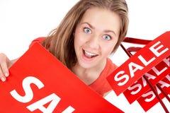 Frau auf Verkauf Stockfoto