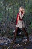 Frau auf Wald Stockfoto