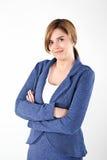 Frau auf weißem Hintergrund Lizenzfreies Stockfoto