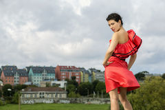 Frau bei der Aufstellung des hübschen Kleids Lizenzfreie Stockfotografie