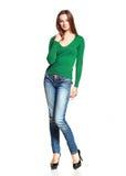 Frau bei der Blue Jeans-Aufstellung Stockbild