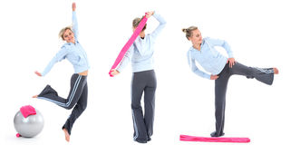 Frau beim Gymnastiktrainieren Lizenzfreies Stockbild