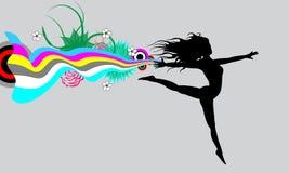 Frau beim Springen von einem Schal vektor abbildung