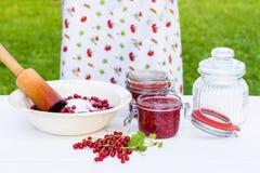 Frau bereitet Marmelade der roten Johannisbeeren zu Lizenzfreie Stockfotos