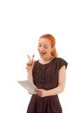 Frau beschäftigt, eine Darstellung gebend Lizenzfreies Stockbild