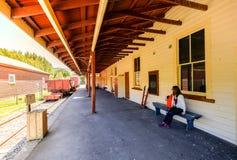 Frau besichtigt den kleinen Flussbahnhof nahe akaroa, Christchurch lizenzfreie stockbilder