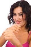 Frau betriebsbereit zum Karate Lizenzfreies Stockbild