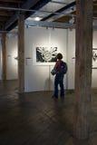 Frau bewundert Kunst am Galerie-Ereignis Stockfotos