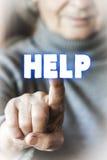 Frau bittet um Hilfe Stockbild