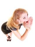 Frau blondes buisnesswoman Schreien lokalisiert Stockbilder
