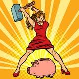 Frau bricht Sparschwein Finanzierung, Wirtschaft und Verbrauch vektor abbildung
