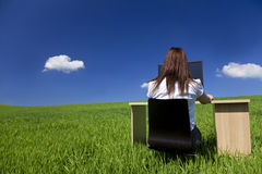 Frau am Büro-Schreibtisch und dem Computer auf dem grünen Gebiet Lizenzfreie Stockbilder