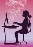 Frau am Computer Stockfoto