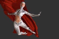 Frau Cyborgtanzen mit einer roten Illustration des Stoffes 3d vektor abbildung