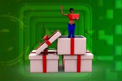 Frau 3D in einer Präsentkartonillustration Stockbilder