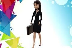 Frau 3d mit Aktenkofferillustration Stockbild
