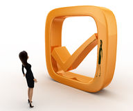 Frau 3d mit goldenem Konzept des rechten Symbols Stockfotos
