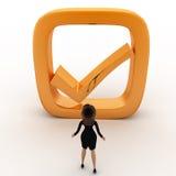 Frau 3d mit goldenem Konzept des rechten Symbols Stockfoto