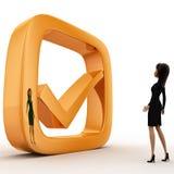 Frau 3d mit goldenem Konzept des rechten Symbols Stockbilder
