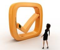 Frau 3d mit goldenem Konzept des rechten Symbols Lizenzfreie Stockfotografie