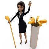 Frau 3d mit Golfschlägerkonzept Stockfoto