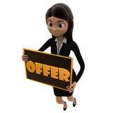 Frau 3d mit Konzept des Angebotzeichens in der Hand Stockfoto