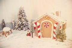 Frau in den Feiertagsvorbereitungen, welche die Verglasung auf Lebkuchenhaus Weihnachtsbäume setzen Stockbilder