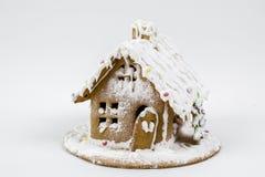 Frau in den Feiertagsvorbereitungen, welche die Verglasung auf Lebkuchenhaus Weihnachtsbäume setzen Haus von Keksen mit raffinier Stockbild