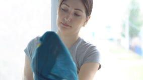 Frau in den gelben Handschuhen wäscht das Fenster mit einem Reinigungsmittel stock footage