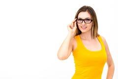 Frau in den Gläsern lizenzfreie stockbilder