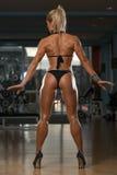 Frau in den hohen Absätzen, die ihren ausgebildeten Körper zeigen Stockbilder