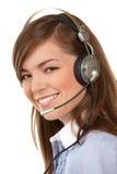 Frau in den Kopfhörern lizenzfreie stockfotos