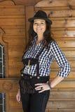 Frau in den Lederhosen und im bayerischen Hut Lizenzfreie Stockfotografie
