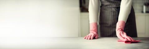 Frau in den rosa Gummischutzhandschuhen, die Staub abwischen und schmutziges Reinigungskonzept, Fahne, Kopienraum Stockfotos