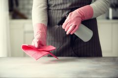 Frau in den rosa Gummischutzhandschuhen, die Staub abwischen und schmutziges Reinigungskonzept, Fahne, Kopienraum Stockbilder