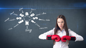 Frau in den roten Boxhandschuhen, welche die nahe Wand mit einer Geschäftsideenskizze gezeichnet auf sie stehen Konzept eines erf Stockfoto
