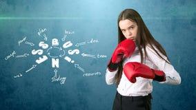 Frau in den roten Boxhandschuhen, welche die nahe Wand mit einer Geschäftsideenskizze gezeichnet auf sie stehen Konzept eines erf Stockbild