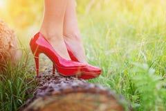 Frau in den roten Fersen Stockbilder