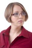 Frau in den roten Gläsern Lizenzfreies Stockbild