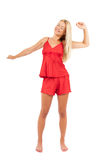 Frau in den roten Pyjamas Lizenzfreie Stockfotos